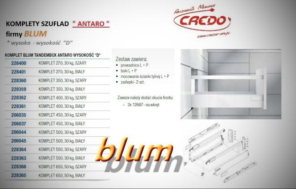 ANTARO-BLUM – kompletna prowadnica do szuflad wysokość 'D'