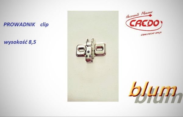 Zawias BLUM  –  Prowadnik H-8,5  bez wkrętów