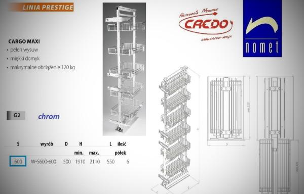 CARGO 'MAXI' do szafki 60- 6-półkowe  chrom