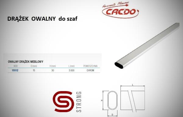 , Drążek OWALNY do szaf – 3m  chrom