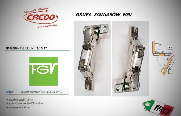 Zawiasy FGV – Slide on  165 stopni