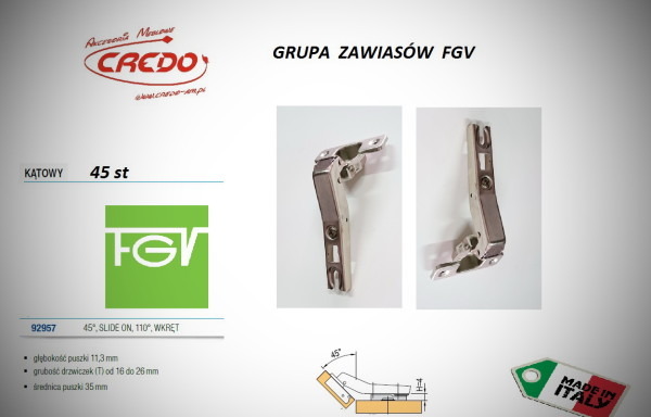 Zawiasy FGV – Slide on  45 stopni