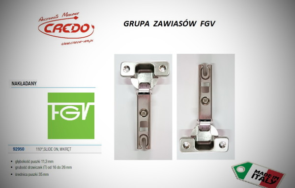 Zawiasy FGV – Slide  nakładany 110 stopni