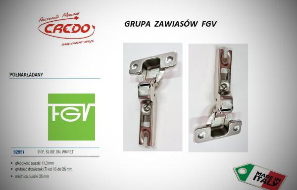 Zawiasy FGV – Slide półnakładany 110 stopni