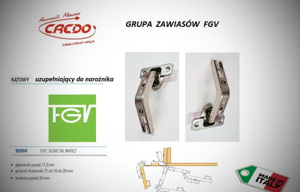 Zawiasy FGV – Slide uzupełniający 135 stopni