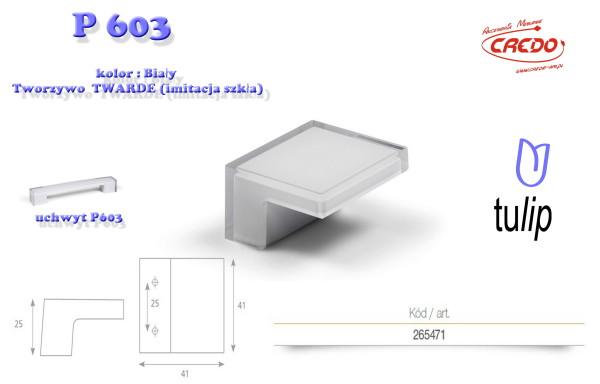 Gałka meblowa  P 603 Biała imitacja szkła