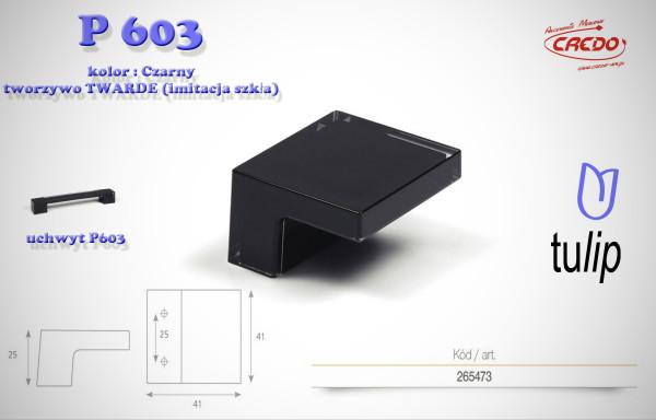 Gałka meblowa  P 603 Czarna imitacja szkła