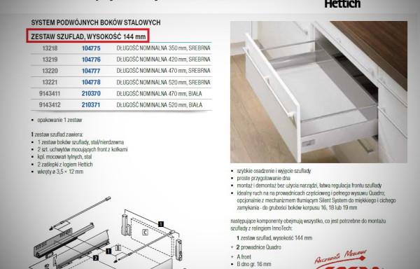 InnoTech  HETTICH  – kompletna szuflada  h144