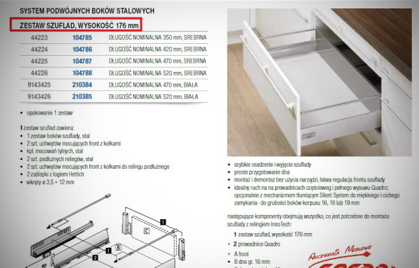 InnoTech  HETTICH  – kompletna szuflada  h176