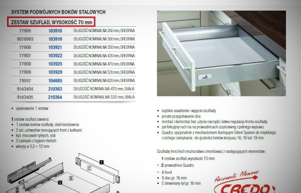 InnoTech  HETTICH  – kompletna szuflada  h70