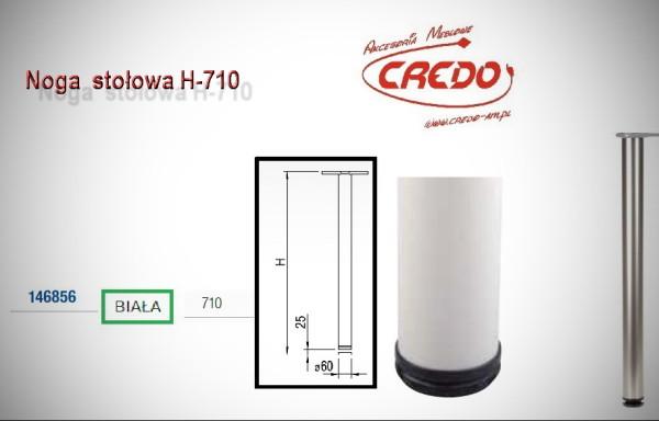 Noga meblowa fi60 H710 lakier Biały