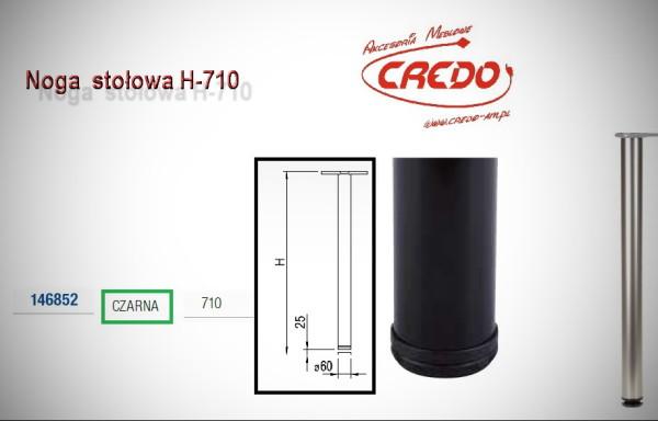 Noga meblowa fi60 H710 Lakier Czarny