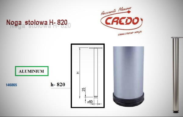 Noga meblowa fi60 H820 Aluminium