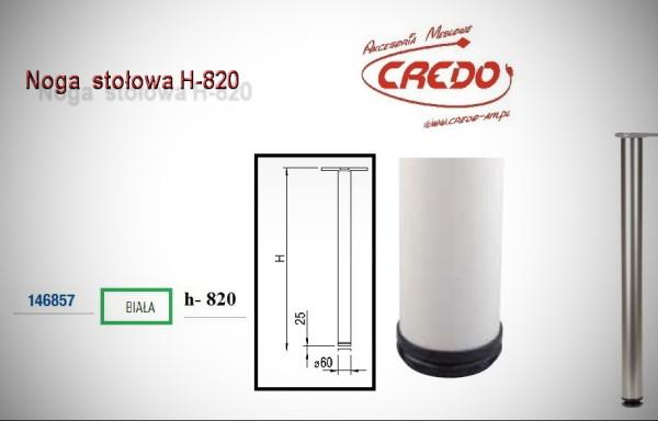 Noga meblowa fi60 H820 Lakier Biały