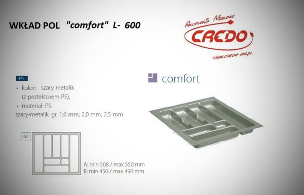 """Wkład na sztućce do szuflady 60cm """"comfort – PROSTY"""""""