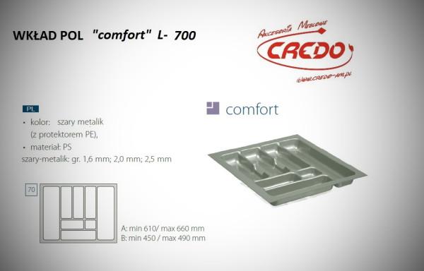 """Wkład na sztućce do szuflady 70cm """"comfort – PROSTY"""""""