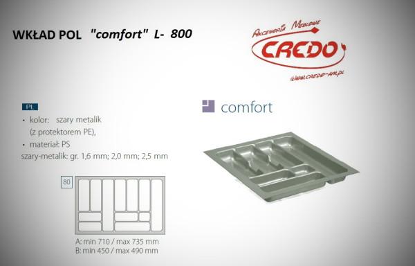 """Wkład na sztućce do szuflady 80cm """"comfort – PROSTY"""""""