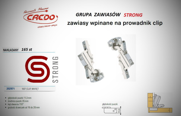 Zawias STRONG  system CLIP   165 stopni