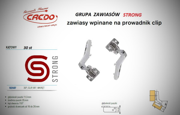 Zawias STRONG  system CLIP   30 stopni