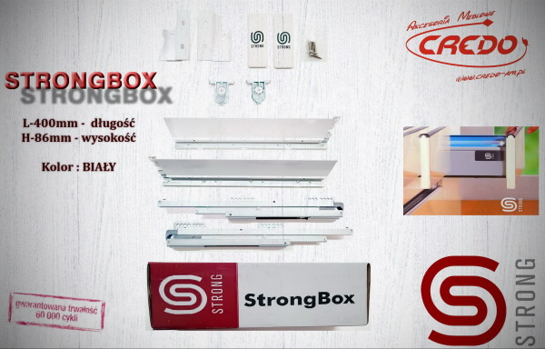STRONGBOX – prowadnica do szuflad z bokami L400 H-86 Biała
