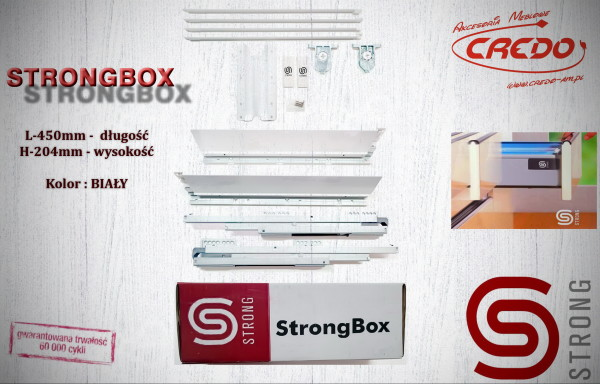 STRONGBOX – prowadnica do szuflad z bokami L450 H-204 Biała