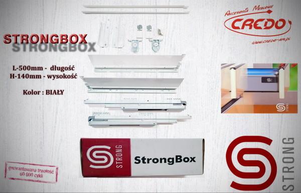 STRONGBOX – prowadnica do szuflad z bokami L500 H-140 Biała