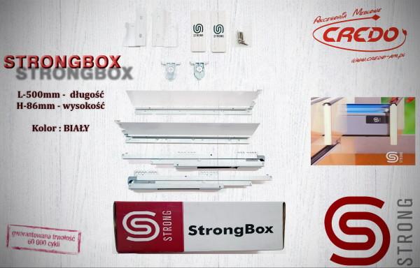 STRONGBOX – prowadnica do szuflad z bokami L500 H-86 Biała