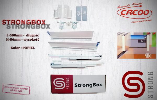 STRONGBOX – prowadnica do szuflad z bokami L500 H-86 Popiel