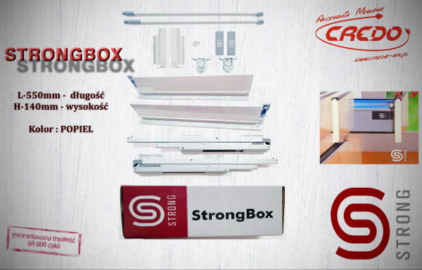 STRONGBOX – prowadnica do szuflad z bokami L550 H-140 Popiel