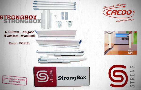 STRONGBOX – prowadnica do szuflad z bokami L550 H-204 Popiel