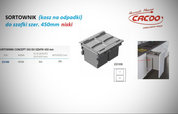 Kosz – sortownik na odpadki CONCEPT -szafka 450mm