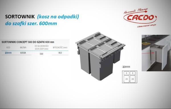 Kosz – sortownik na odpadki CONCEPT 560 szafka 600mm