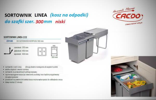 Kosz – sortownik na odpadki LINEA 222 szafka 300mm