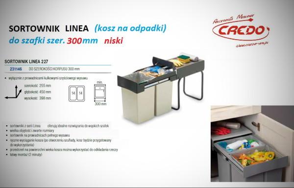 Kosz – sortownik na odpadki LINEA 227 szafka 300mm