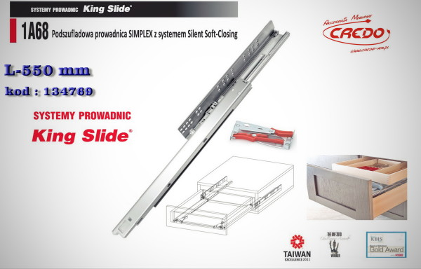 Prowadnica KING SLIDE –  ciche domykanie 550mm