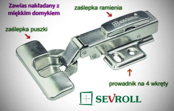 Zawias nawierzchniowy z miękkim domykiem SEVROLL